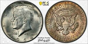 1964 SILVER KENNEDY HALF DOLLAR PCGS MS63 CHOICE GORGEOUS COLOR UNC TONED (DR)