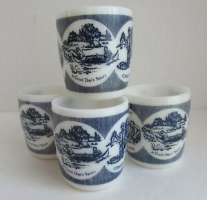 A Good Days Sport Lot of 4 Milk Glass Cups Mugs Currier and Ives