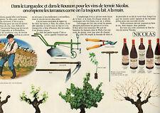 Publicité Advertising 1972  ( Double page )  NICOLAS vin rouge vin de terroir