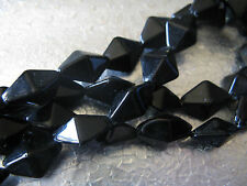 24 Faceted 15x10mm Beads Jewelry Finding Beads Black Glass Beads