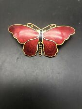 Vintage Sporrong & Co. Enamel Butterfly Pin Stockholm Red
