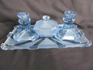 Vintage blue glass 5 piece dressing table vanity set