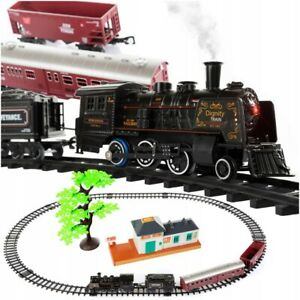 Electric Railway Set Train Toy,Steam Train with Music and Light Smoke Kids Gift