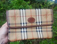 Vintage Burberry Traditional Check Clutch Travel Bag Purse