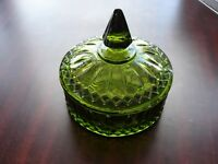 Collectible Green Vintage Glass Candy Dish Bowl Holder