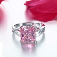 925 Silver Dazzling Pink Crystal Zircon Twist Ring Women Wedding Jewelry Sz 6-9