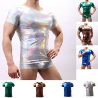 Sexy Herren Wet look Patent Faux Leather T-shirts Muskelshirt Unterwasche