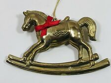 VTG Brass Rocking Horse Christmas Tree Decoration Ornament Double-sided