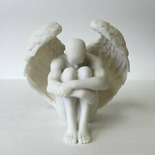Male Nude Winged Angel Holding Knees Statue Sculpture Figurine - GIFT BOXED