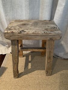 Rustic Handmade Wooden Side Table / Seat, Greet Condition