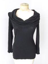 Michael Stars black tunic knit top huge cowl neck lightweight supima cotton OS