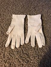 Vintage Ladies Cream Stretch Lace Wrist-Length Gloves