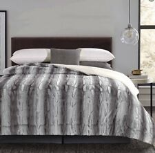 King Size-Grey Zephyr-Sherpa Comforter-1 Piece