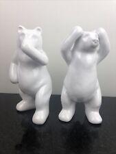 White Polar Bear Hand Made Ceramic Porcelain Firgurine Artist Lot Set Signed