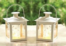 """2 White Teacup Candle holder Lantern. 4 3/4"""". Perfect for a wedding. Romantic"""