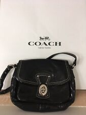 Vintage Coach Small Black Patent Leather Penny Pocket Turn Lock Bag F0973-F14283