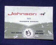 1968 Johnson MQ MQL 9.5 Hp. Owners operation manual / Operators Handbook book