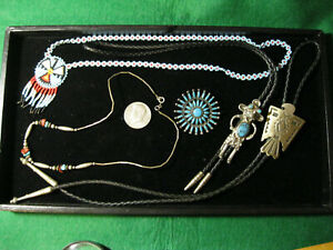Vtg Thunderbird Bolo Bell Trading Nickel Silver Mudman faux turquoise necklaces
