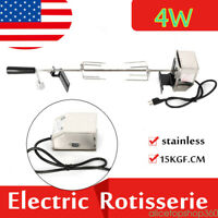 Electric Stainless Steel Chicken BBQ Rotisserie Grill Motor Spit Rod+ Meat forks