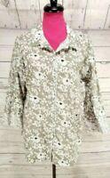 Habitat Shirt Size XL Womens Gray White Floral Button Down 3/4 Sleeve