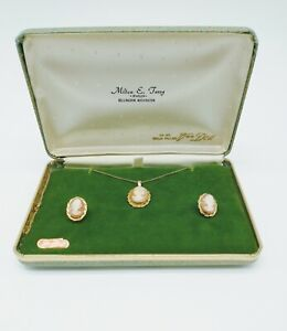 VINTAGE VAN DELL 12K GOLD FILL CAMEO NECKLACE EARRINGS SET IN ORIGINAL BOX