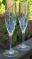 LOT  of  2  MIKASA  UPTOWN FLUTED CHAMPAGNE  GLASSES  9 3/8  inches tall