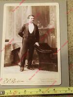 Cabinet Card Photo P.H. Rose Photographer Providence RI TUXEDO Rich Elegant Man