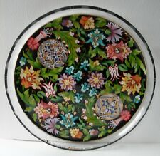 """VINTAGE SIGNED MOSER STYLE PASABAHCE TURKISH HANDPAINTED ENAMEL 8.5"""" GLASS TRAY"""