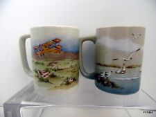 Otagiri Mug Set Biplanes Lighthouse Seagulls Two Hot Beverage Mugs