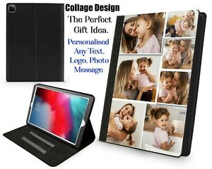 Personalised Leather  Flip Apple iPad Cover Case for iPad 2/3/4/ 10.2 Add Photos