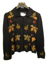 Peruvian Connection XL NWT Black Alpaca Knit Cardigan Sweater Floral Leaves Leaf