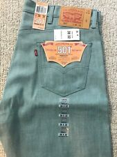NWT LEVI'S 501 38 X 32  WHITE OAK CONE DENIM SHRINK TO FIT JEANS Mint Green