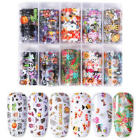 Halloween Christmas Nail Foils Holographic Transfer Stickers Decals Nail Art DIY