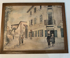 Antique Maurice Utrillo print Rue Jean Durand 1929 wood Frame 24x18 signed dated
