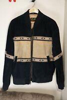 Scully Men's VTG Western BOMBER Black & Brown Tan Leather Jacket Size Large L