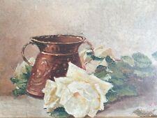 Ancien tableau,HSP,nature morte aux bouquet de roses,signé,Art déco,1930