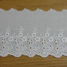Roses Garden Embroidered Cotton Eyelet Lace Trim  White  4 inch(10cm) Wide 5Yard