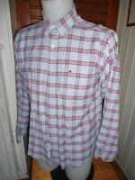 Chemise manches longues coton bleu ciel grand carreau rouge TOMMY HILFIGER XL 44