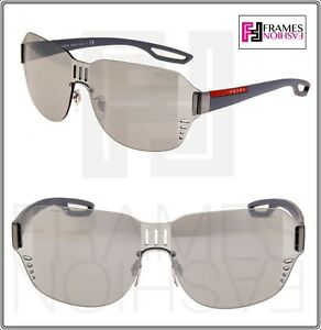 PRADA 05S LINEA ROSSA LJ SILVER Matte Rubber Silver Mirrored Sunglasses PS05SS