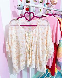 Cinema Club semi sheer peach floral babydoll blouse top ~ Japan Japanese Gyaru