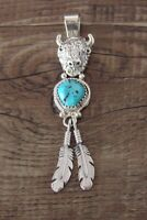 Navajo Jewelry Sterling Silver Buffalo Turquoise Feather Pendant By Francisco