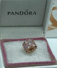 Genuine Rose Gold PANDORA Pink & Clear Sparkle Charm 788487C01 ALE MET