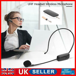 UHF Wireless Head-Mounted Microphone MIC System Headset W/ Receiver Transmitter
