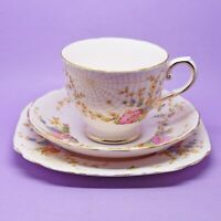 Tuscan Spider Web Pattern 7319H Tea Cup, Saucer & Plate Trio Vintage, England