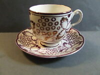 VINTAGE TEA CUP / SAUCER PURPLE HANDPAINTED GRAPES GRAY'S POTTERY ENGLAND