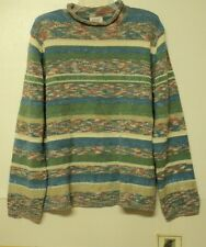 NEW size petite large Monterey by Koret SWEATER striped blue green tan PL