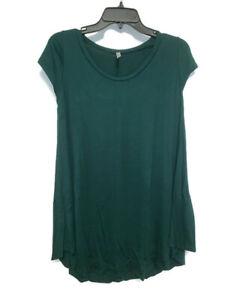 Isaac Liev Womens Hunter Green Flowy Short Sleeve Tunic Top Size L