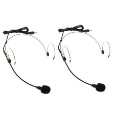 2Pack Condenser Headset Microphone W/ Flexible Wired Boom 3.5mm Mono Black
