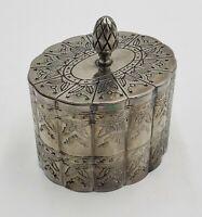 Vintage Godinger Silver Plated Oval Ridged Trinket Velvet Jewelry Box