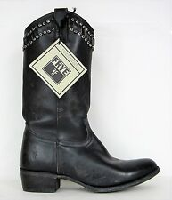 FRYE BOOTS Diana Cut Stud Tall Black StoneWashed Leather 78001 SZ 9.5 $428